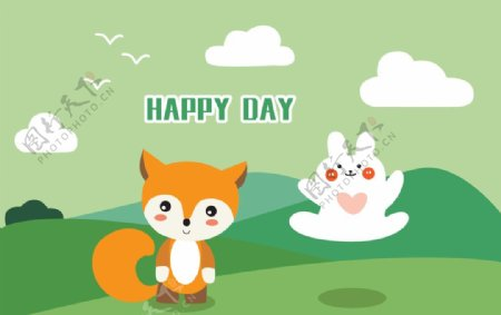 狐狸和兔子插画图片
