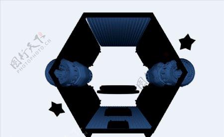 C4D模型抽象场景太空舱图片