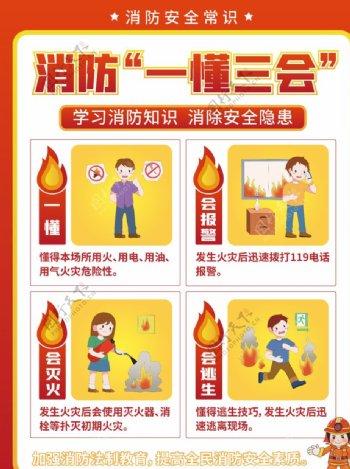 消防安全一懂三会宣传海报图片