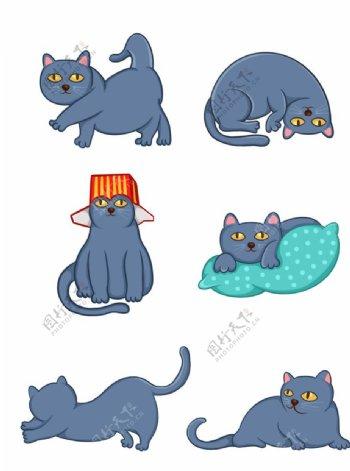 可爱卡通猫咪设计元素图片