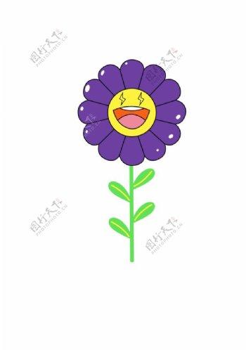 紫色向日葵印花图片