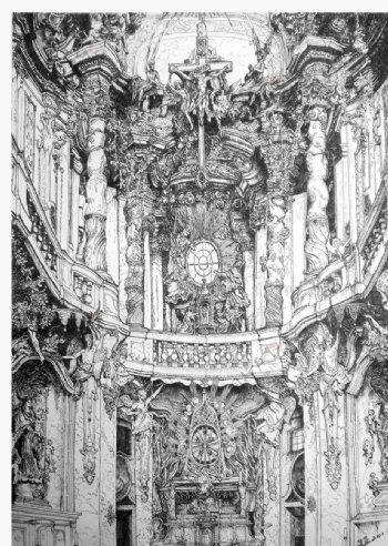 巴洛克风格教堂钢笔手绘图片