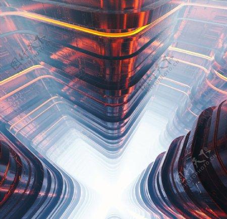 C4D模型玻璃建筑迷宫场景图片