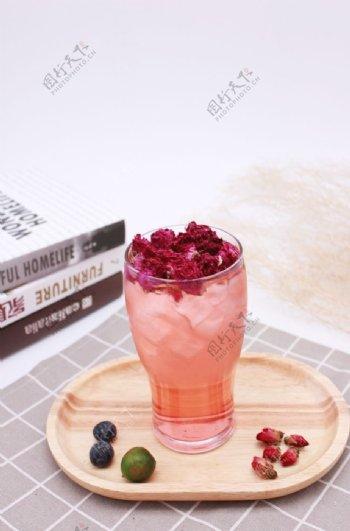 玫瑰花茶饮玫瑰花饮品图片