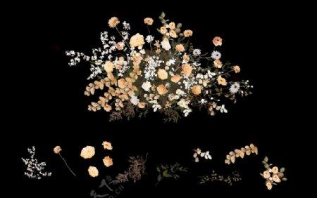 婚礼效果图素材白黄色花艺图片