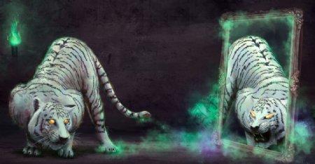 彩色绘画插画白虎背景图片