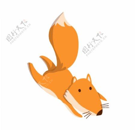 奔跑的狐狸手绘图片