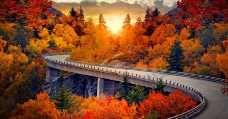 公路风景油画图片