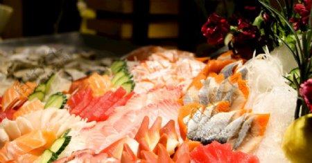 西餐厅三文鱼海鲜自助餐菜品图片