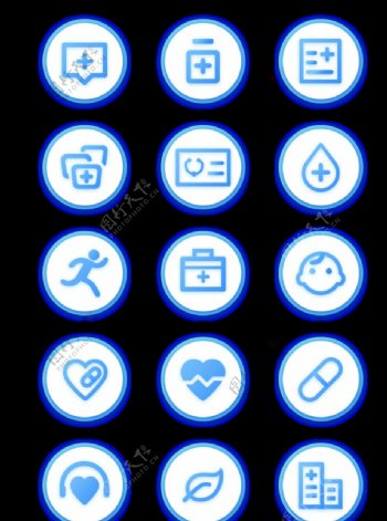 医疗健康蓝色手机APP常用图标图片