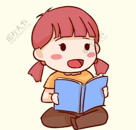 女孩看书图片