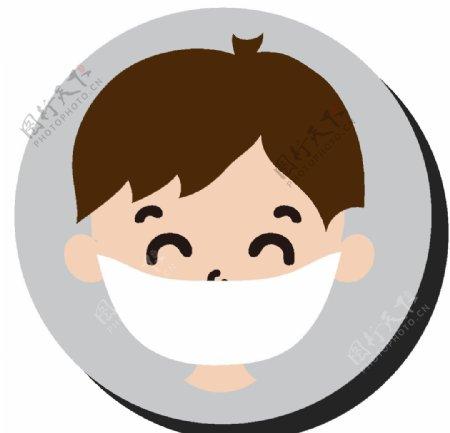 卡通戴口罩男孩头像图片